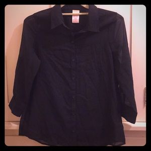 Faded Glory Black Sheer Button Down Blouse SZ M
